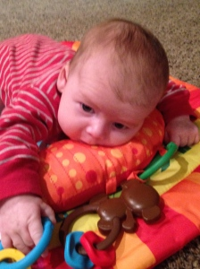 Tobias Tummy Time Tug - he loves reaching for the monkey!